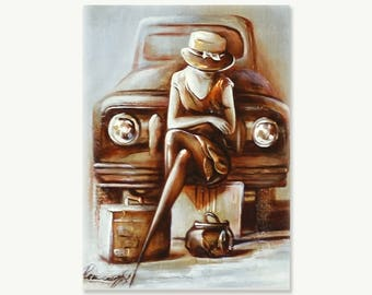 Painting , Original painting , Modern Original canvas Art , Woman painting , wall art painting home decor painting , painting for gift