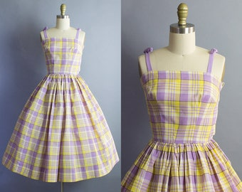 1950s Plaid cotton Sundress/ 50s cotton gingham check dress/ XXS (31b/21w)