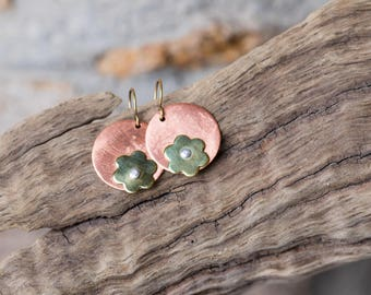 Copper, Brass and Silver Earrings, Recycled Copper and Brass Earrings, Riveted Flower Earrings,