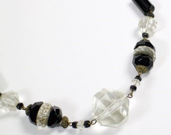 Vintage 1930s Art Deco faceted black and clear glass bead necklace.