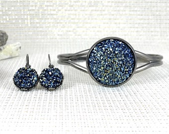 Metallic Blue Druzy Jewelry Set - Druzy - Bridesmaid Gift - Druzy Bracelet - Druzy Earrings - Cuff Bracelet - Metallic Blue - Druzy Jewelry