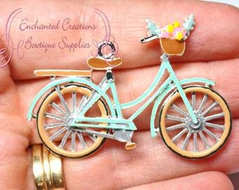 """2"""" Bicycle Charm, Mint Green Bike, Flower Basket, Purse Charm, Chunky Pendant, Keychain, Bookmark, Zipper Pull Chunky Jewelry, Aqua Bike"""