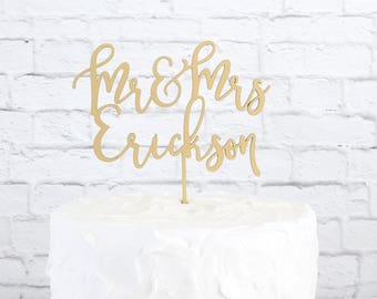 Mr Mrs Cake Topper, Customized Wedding Cake Topper, Personalized Cake Topper for Wedding, Custom Personalized Wedding Cake Topper