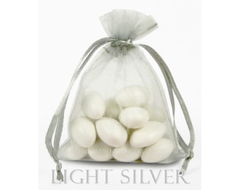 100 Light Silver Grey Organza Bags, 4 x 6  Inches, Favor Bags with Drawstrings