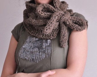 Cable texture hand knit chunky neckwarmer scarf cowl wrap stole with big tie bow - Twist Me Around in chocolate brown or CHOOSE YOUR COLOR