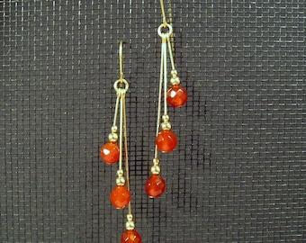 Gold-filled Faceted Carnelian Assymetrical Multi-Dangle Earrings