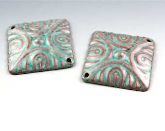 Enameled Deco Diamonds / Peppermint Enamel / Made to Order