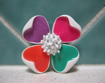 Vintage Flower Brooch - Pink - Orange - Green - Purple - Mod - Retro - 1960's