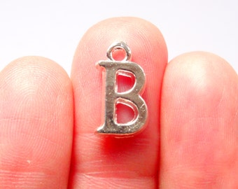 "BULK 20 Alphabet Letter ""B"" Charms Silver Plated 16x9mm"