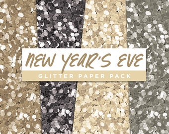 New Years Eve Collection Glitter Seamless Paper Pack // Seamless Pattern Digital Papers Planner Stickers Clipart Digital Scrapbooking