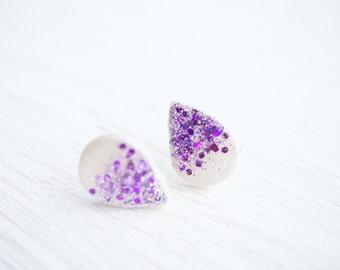 White and Purple Glitter Teardrop Stud Earrings