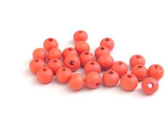 Set Q, 8 mm X 20 red wood beads