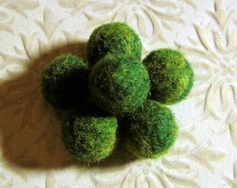 6 Felted Beads - Needle Felted Balls - Mossy Forest - Green Wool Beads - Marbled Shades of Greenery Ball Beads - FNeedlefelted Round Beads