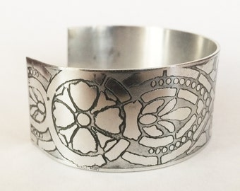 Etched Aluminum Cuff, Art Deco Bracelet - Free Domestic Shipping