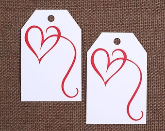 Red Heart Gift Tags, Valentine's Day Gift Tags, Valentine's Parcel Tags, Wedding Favor Tags, Blank Gift Tags, Red Gift Tags (12)