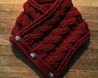 Crochet cable knit cowl