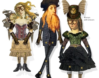 Steampunk Time Travelers Da Vinci and Venus paper dolls articulated puppets instant download collage sheet