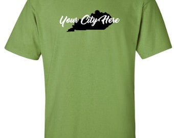 Kentucky City with Solid Silhouette of State, Kentucky Proud, Adult Unisex Tshirt, Show Off Your City or Town, Select 2 Vinyl Colors