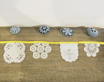 Yellow Vintage Doily Bunting - Banner Wedding Garland Wall Hangings Boho - Cream Beige Shabby Chic Repurposed Rustic - Bohemian Doilies