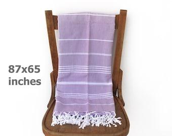 Throw Blanket Bedspread Sofa Cover Turkish Bath Towel Tablecloth Furniture Throw Picnic Blanket LILAC XX LARGE 220 x 166 cm