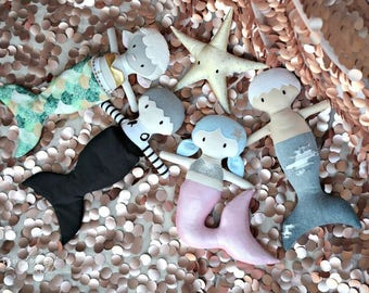 NEW Mini Pals Under The Sea soft rag doll sewing pattern toy softie stuffed mermaid merman starfish doll