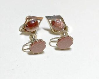 Two pairs of vintage goldstone screw back earrings, goldstone earrings, vintage goldstone jewelry, earring lot, aventurine earrings, 1960s