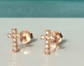 Cross Stud Earrings, in a Rose Gold Plated .925 Sterling Silver and Zirconia • Safe to Get Wet and Priced to Grab • Price is For a Pair