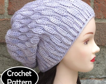 CROCHET HAT PATTERN Instant Download Pdf - Elise Slouchy Hat Beanie Womens Teen- Permission to Sell English Only