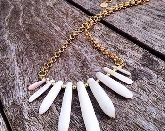 Isabella White Sea Urchin Necklace with Gold Belcher Chain