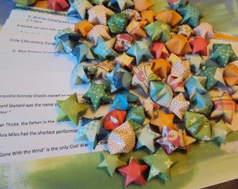 50 Origami Wishing Stars with Trivia Themed Messages