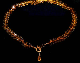 Citrine Briolette Choker with 14 karat Gold Toggle and Setting