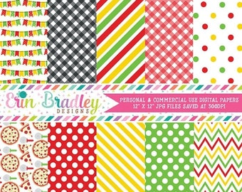 80% OFF SALE Pizza Party Digital Paper Pack Personal & Commercial Use Instant Download