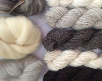 British Wool Fibre and Yarn Selection Box / Weave - Craft - Discover / Woven Wall Hanging / Fiber Bundle / 250g