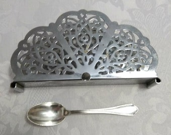 Set of Two - One Demitasse Spoon  - One Irvine Wear Napkin Holder - Misc Serving Pieces - Antique Flatware - Demitasse Spoon - Napkin Holder