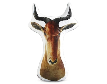 Hartebeest Taxidermy Head Printed Pillow