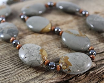 Grey and Brown Jasper Necklace / Hematite, Wood / Chunky Necklace / Jewelry Set / Jasper Jewelry / Gifts for Her / Gifts for Women