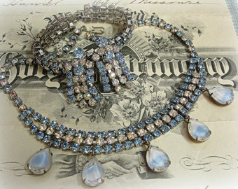 something old something blue vintage rhinestone necklace bracelet and earrings with added drops