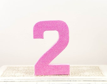 Pink Glitter Number 2 - Birthday Party Decor - Princess Party - Pretty in Pink - Big Number for Birthday Party