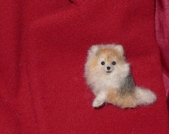Pet Gift  Your dog as a cute Pin / Custom  Needle Felted Miniature Pet Portrait / Sculpture Brooch / example Pomeranian Pom