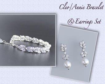 Crystal Bridal Set, Wedding Jewelry SET, Crystal Bracelet & Earrings Set, Pearl drop Earrings, Bridal Jewelry Set,  CLEO/ANNIE P