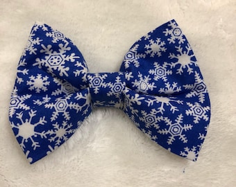 Blue Holiday Cheer Bow Tie- Cats and Dogs