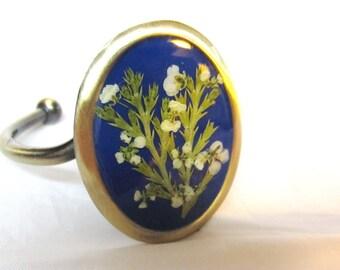 Wildflowers on Blue  Bracelet, Adjustable, Real Flowers, Antiqued Brass, Pressed Flower Jewelry, Resin (1254))