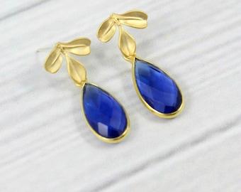 Sapphire Earrings, Small Minimalist Earrings, Leaf Earrings, Gold Earrings, September Birthstone Jewelry, Leaves Earrings, Royal Blue,