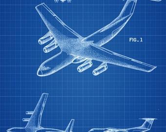 Lockheed C-141 Airplane Patent  - Airplane Blueprint, Pilot Gift, Aircraft Decor, Airplane Poster, Vintage Aviation Art, Airplane Art