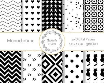 Black and White digital paper - clipart - Monochrome Clip art digital paper - Scrapbook paper, Black and White Digital Paper, Commercial use