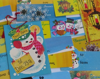 Retro Vintage Christmas Gift Tag Collection in Yellow and Blues x19