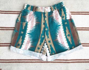 Vintage Retro Western Aztec Boho High Waisted Cut Off Festival Denim Shorts