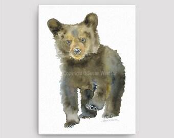 Black Bear Cub Watercolor Painting 12 x 16 Gallery Wrapped Canvas Print - Woodland Animal - Nursery Art