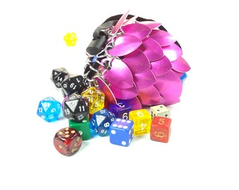 Dungeons And Dragons Medium Pink Dice Bag Chainmaille And Scales Aluminum - SKDB-SC-M-PK