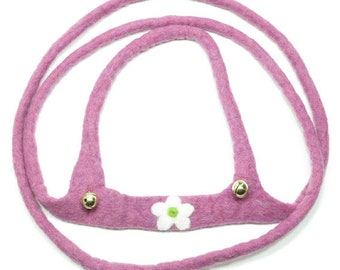 Horse leash for children, hand felted, pink mottled with blossom PF6129